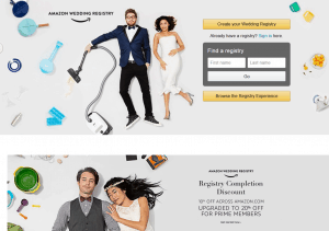 Amazon Wedding Registry homepage