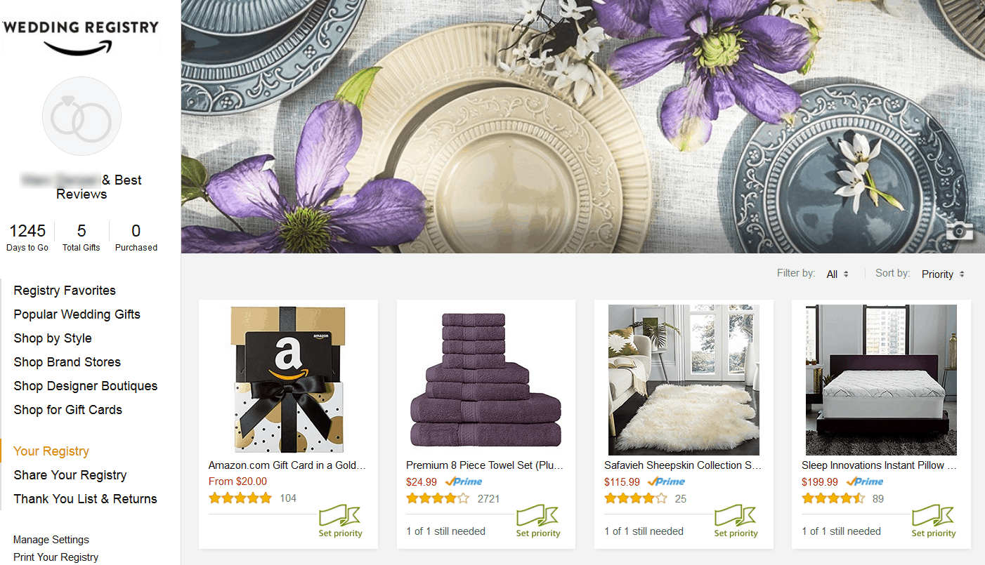 Amazon Wedding Registry Sample