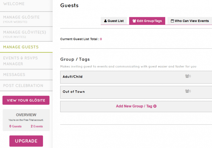 Guest list template for Glö