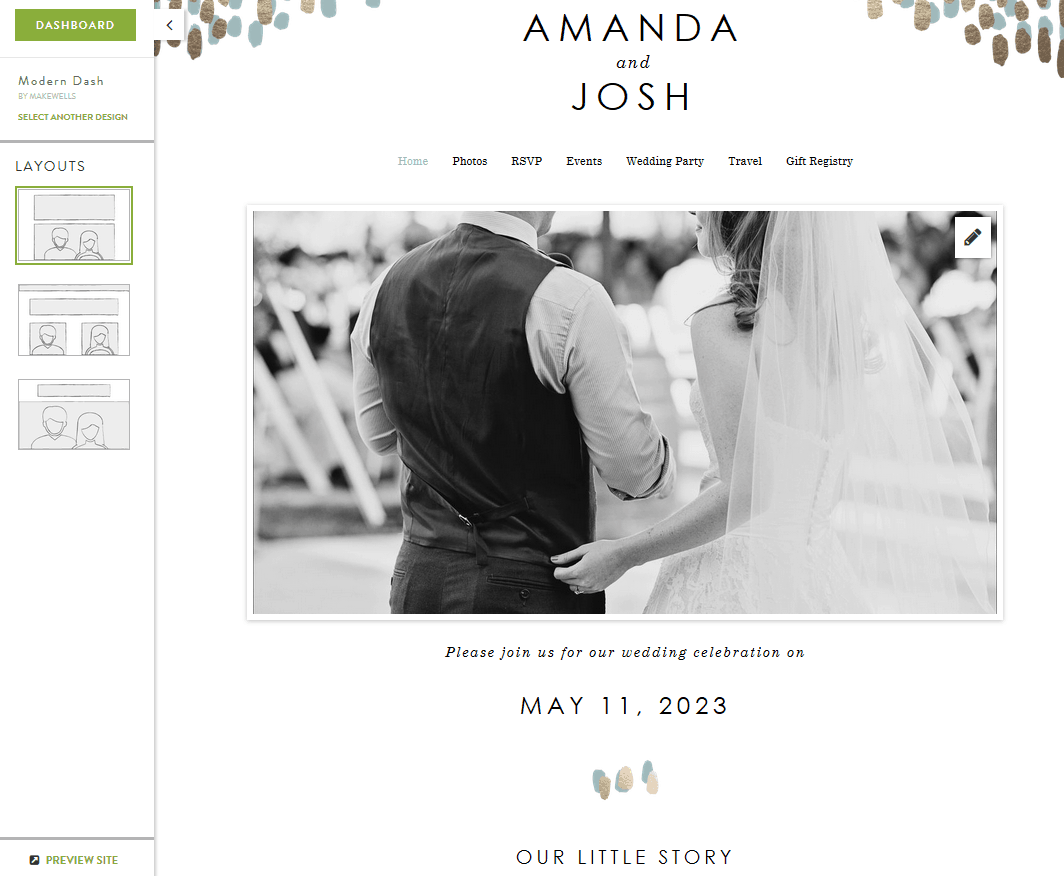 Minted Wedding Site Layout