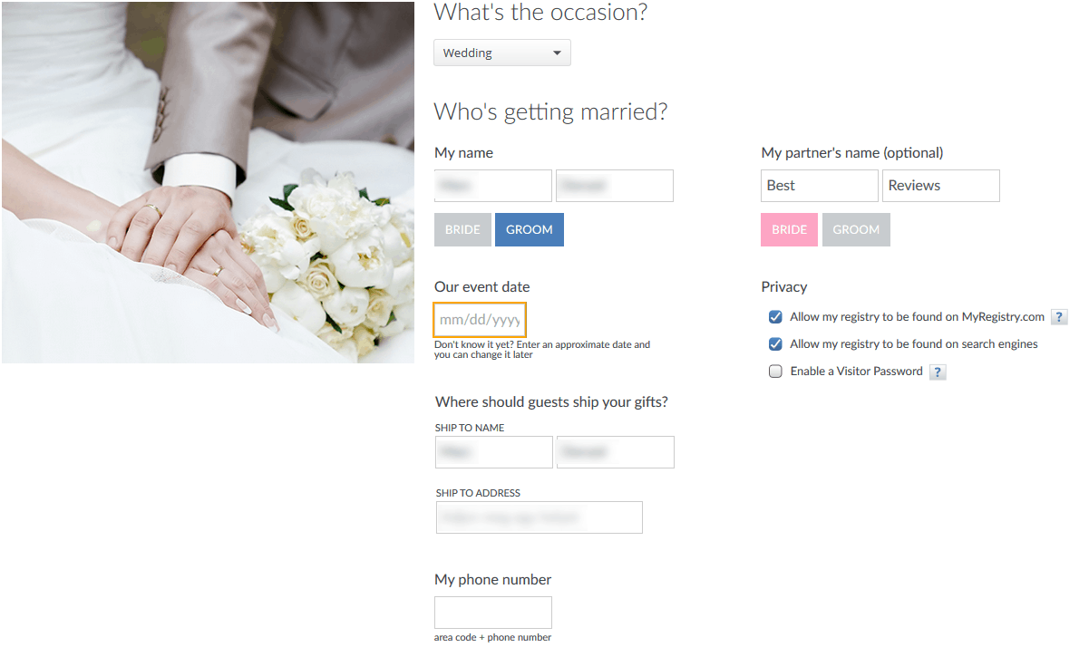 Myregistry reviews by wedding experts couples best reviews myregistry registration process malvernweather Image collections