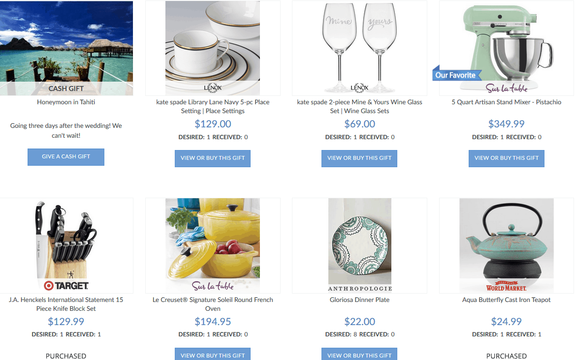 Myregistry reviews by wedding experts couples best reviews sample registry at myregistry malvernweather Image collections
